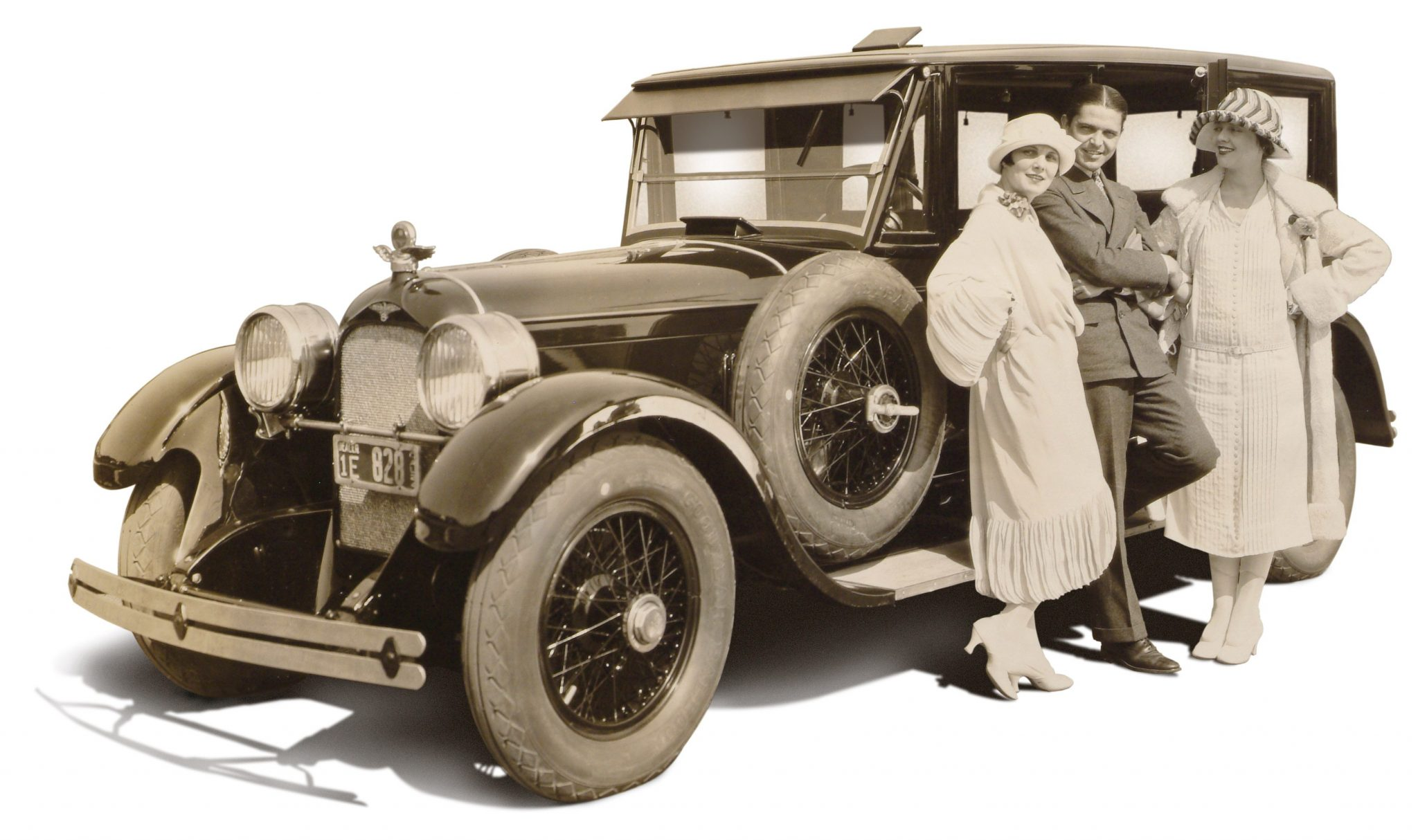"Even in the 1920s the Duesenberg was the car of stars. Pictured with a 1924 limousine are Leatrice Joy, Malcolm MacGregor and Lois Wilson, who had just taken delivery of her new Duesenberg straight eight. Wilson co-stared with Alan Hale in one of Hollywood's first epic westerns, ""The Covered Wagon,"" directed by James Cruze and produced by Paramount Pictures in 1923. Latrice Joy co-starred in C.B. DeMille's original 1923 version of ""The Ten Commandments."""