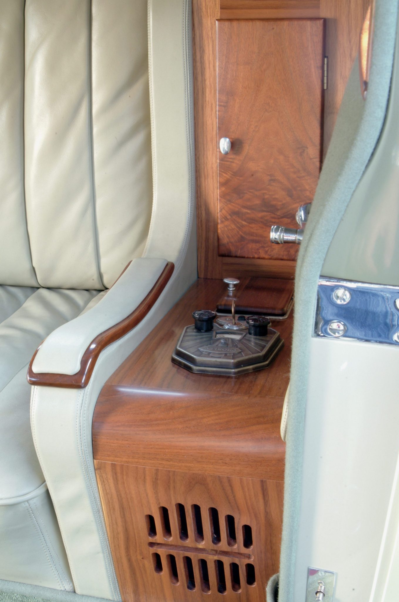 In the 1930s a radio was a seldom-seen option but the Judkins Victoria coupe, a short wheelbase luxury car, was equipped with a Crosley radio and speaker mounted next to the left rear armrest. The four-passenger interior was designed to cater to the rear occupants, with increased legroom, comfortable seating, the radio, and a front passenger seat designed to fold forward to permit easier entry and exit from the rear.