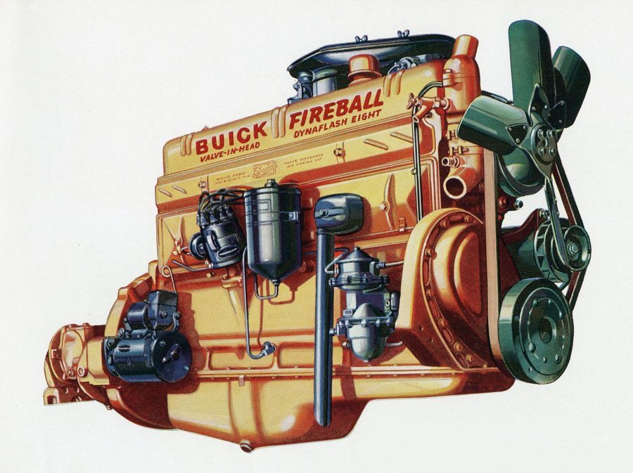1940 Buick Estate Wagon Engine Illustration