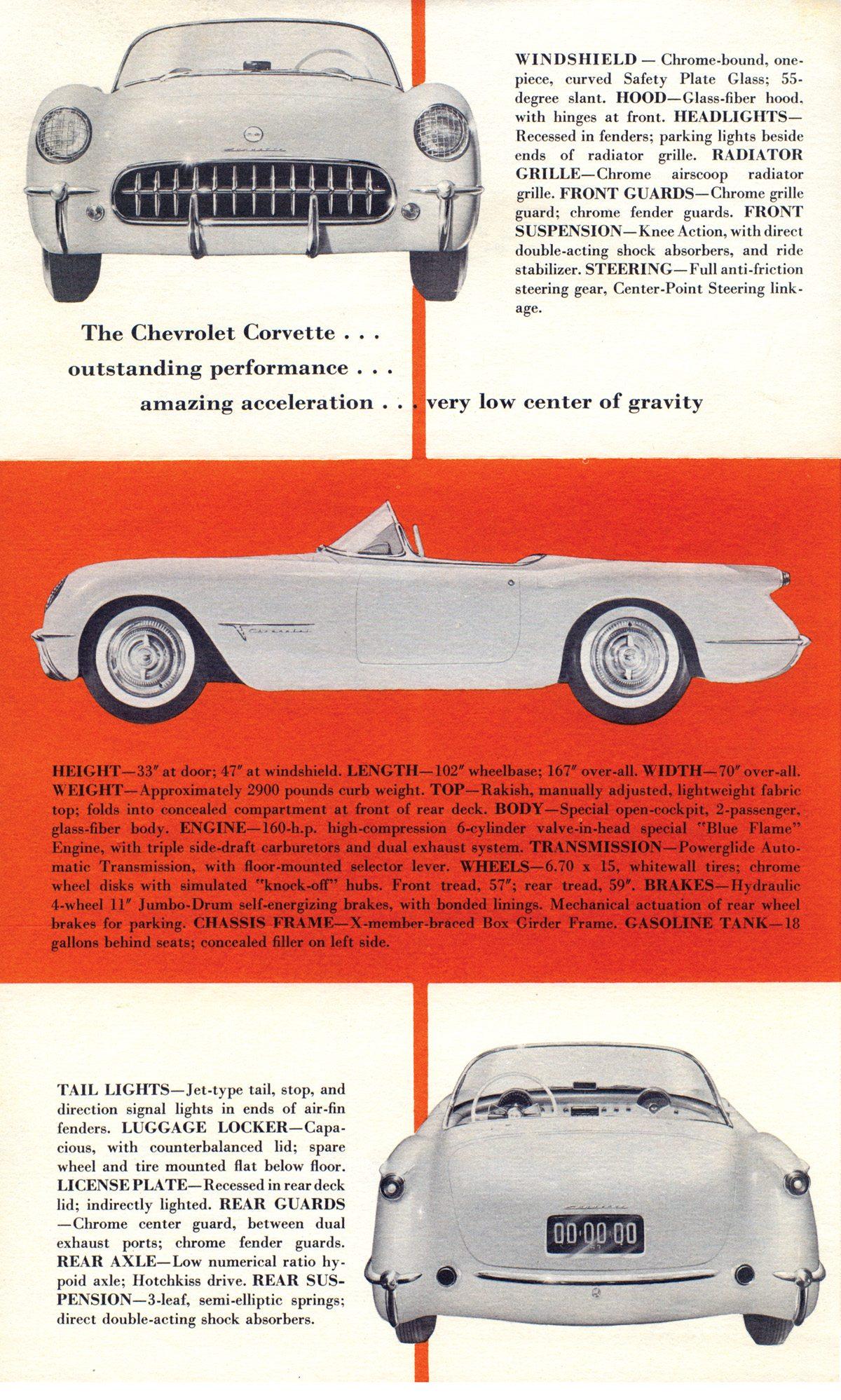 1953 Tri-fold Brochure Corvette Prototype