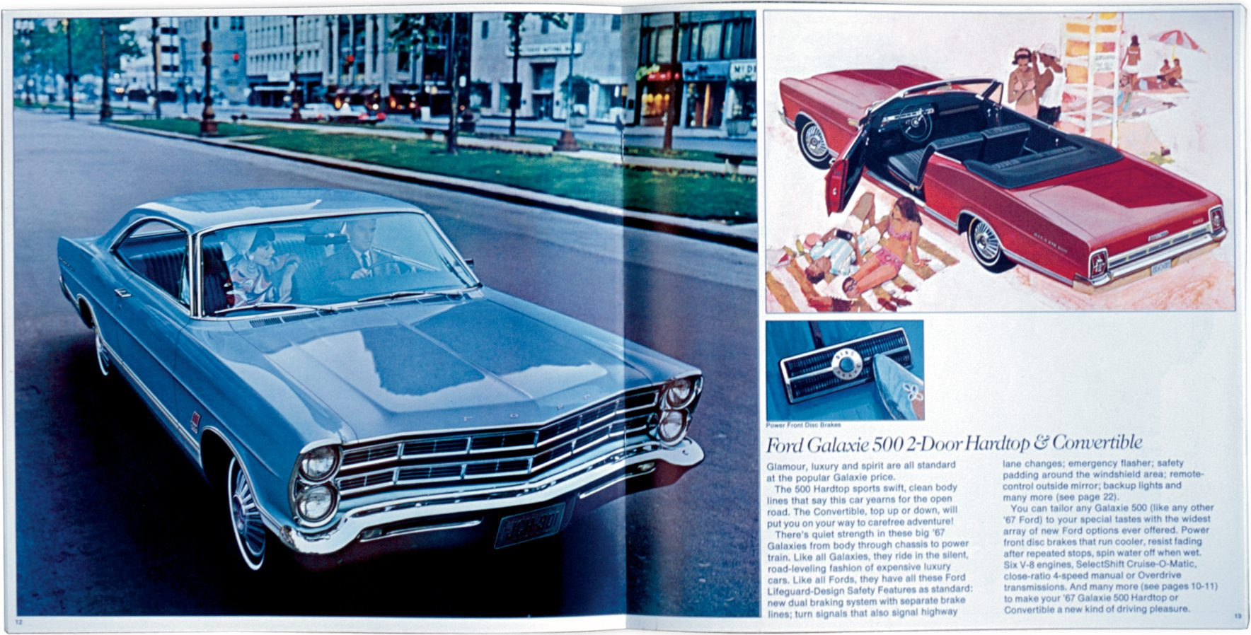 1967 Ford Galaxie in vintage Ford brochure showing their full-sized cars
