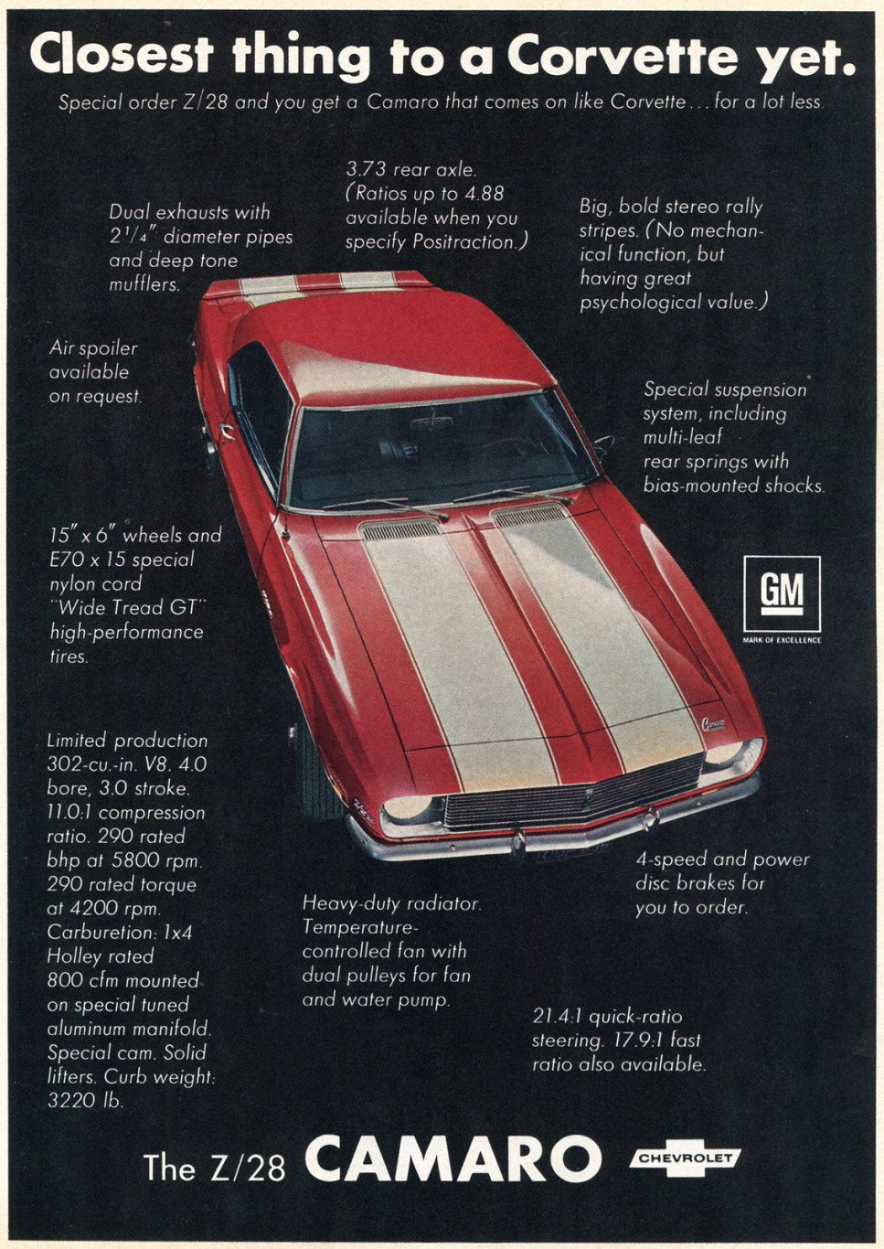 1969 Z28 Camaro Ad - Closest Thing to a Corvette Yet.