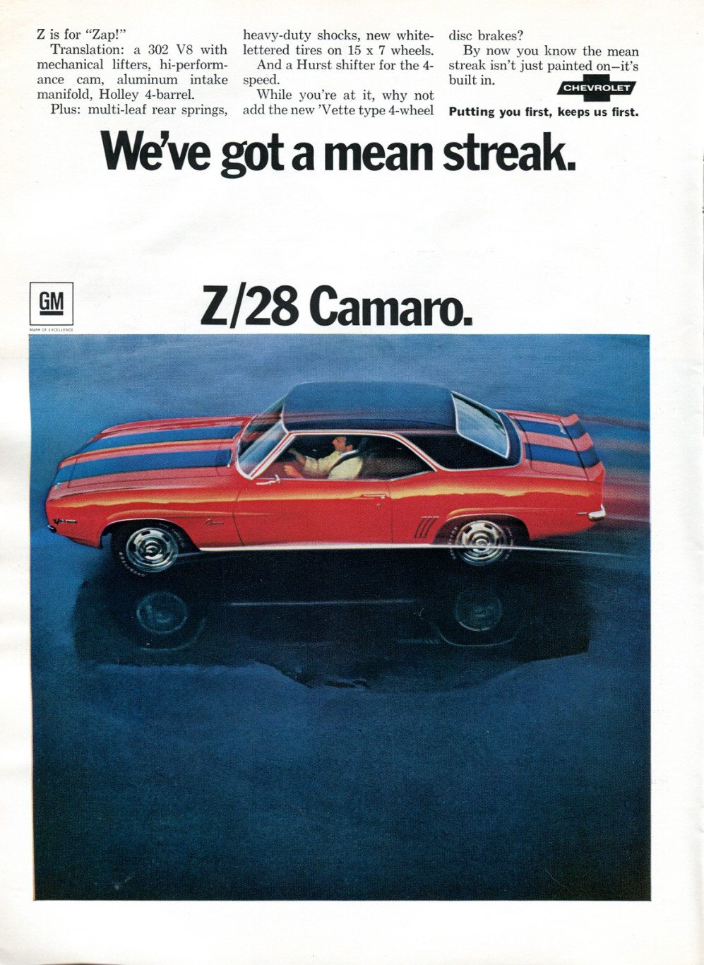 1969 Z28 Camaro Ad - We've Got a Mean Streak.