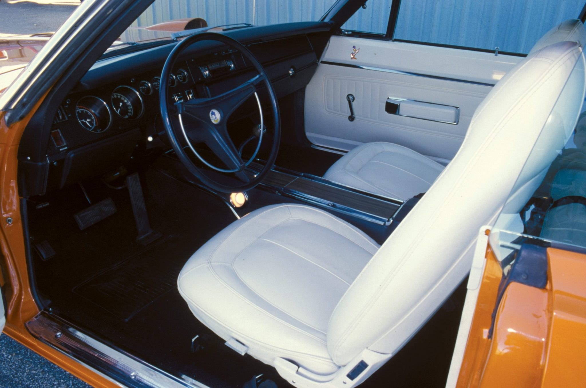 The white interior of this ultra-low mileage Superbird is perfectly preserved.