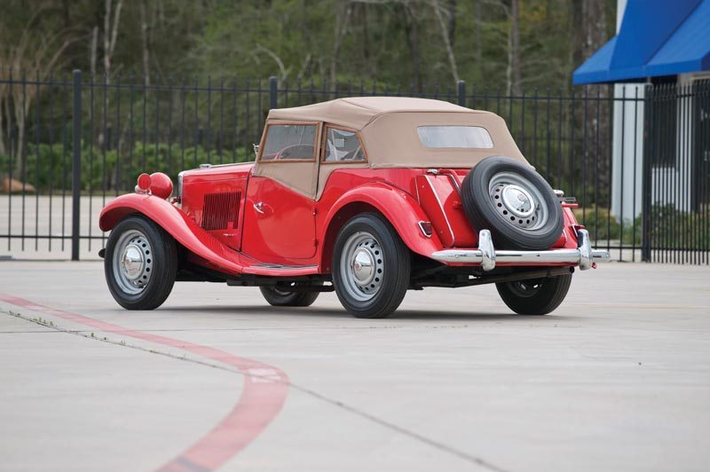 1950 MG TD Roadster Roof Up Rear View