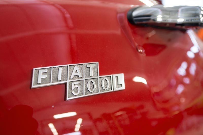 1972 Fiat 500L Badge Closeup