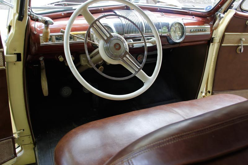 1948 Mercury Convertible interior and steering wheel