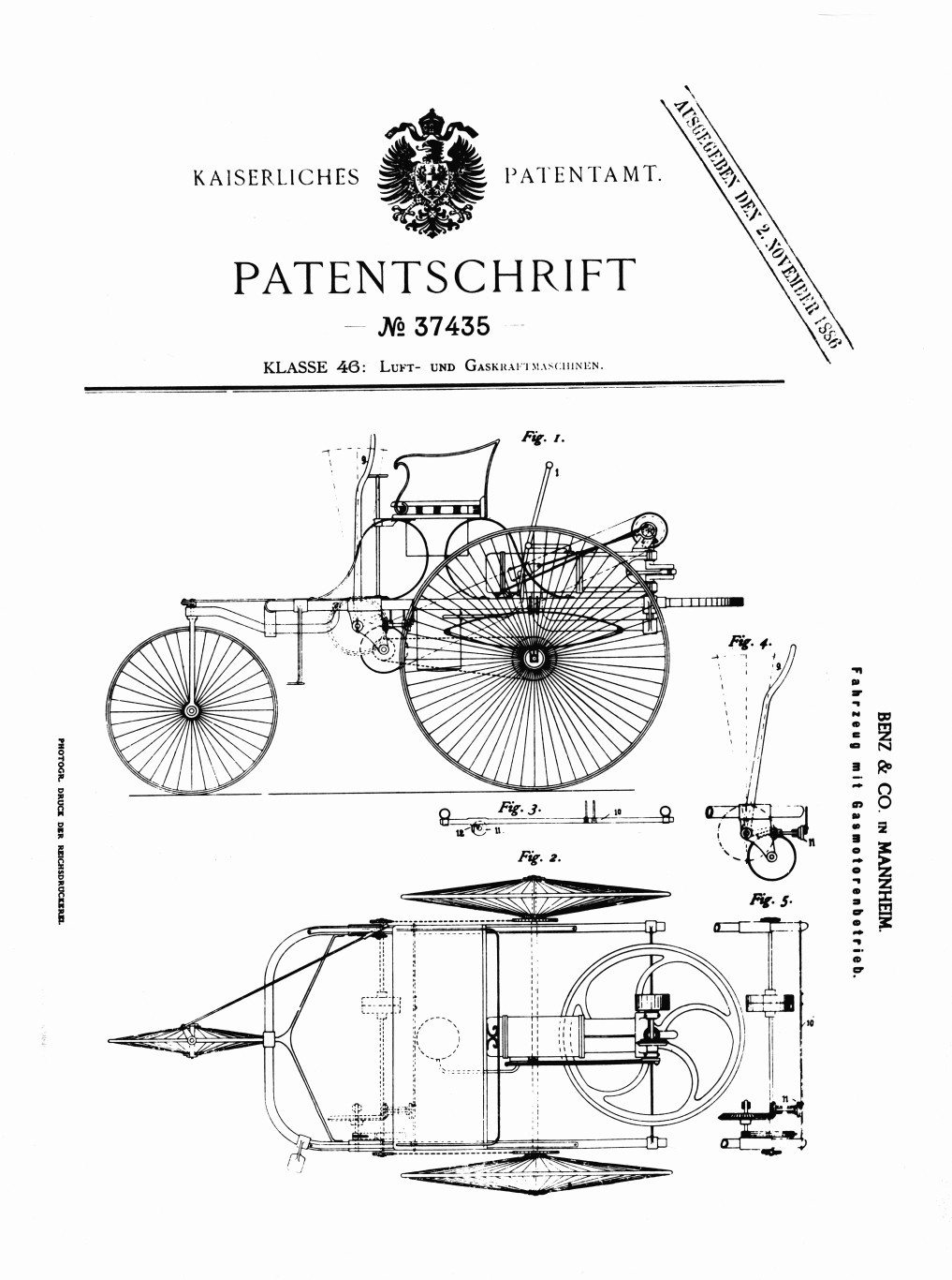 Benz Patent 1886 motorwagen the first motorcar