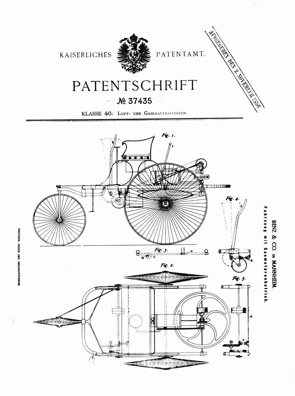 Benz Patent 1886 motorwagen the first motorcar