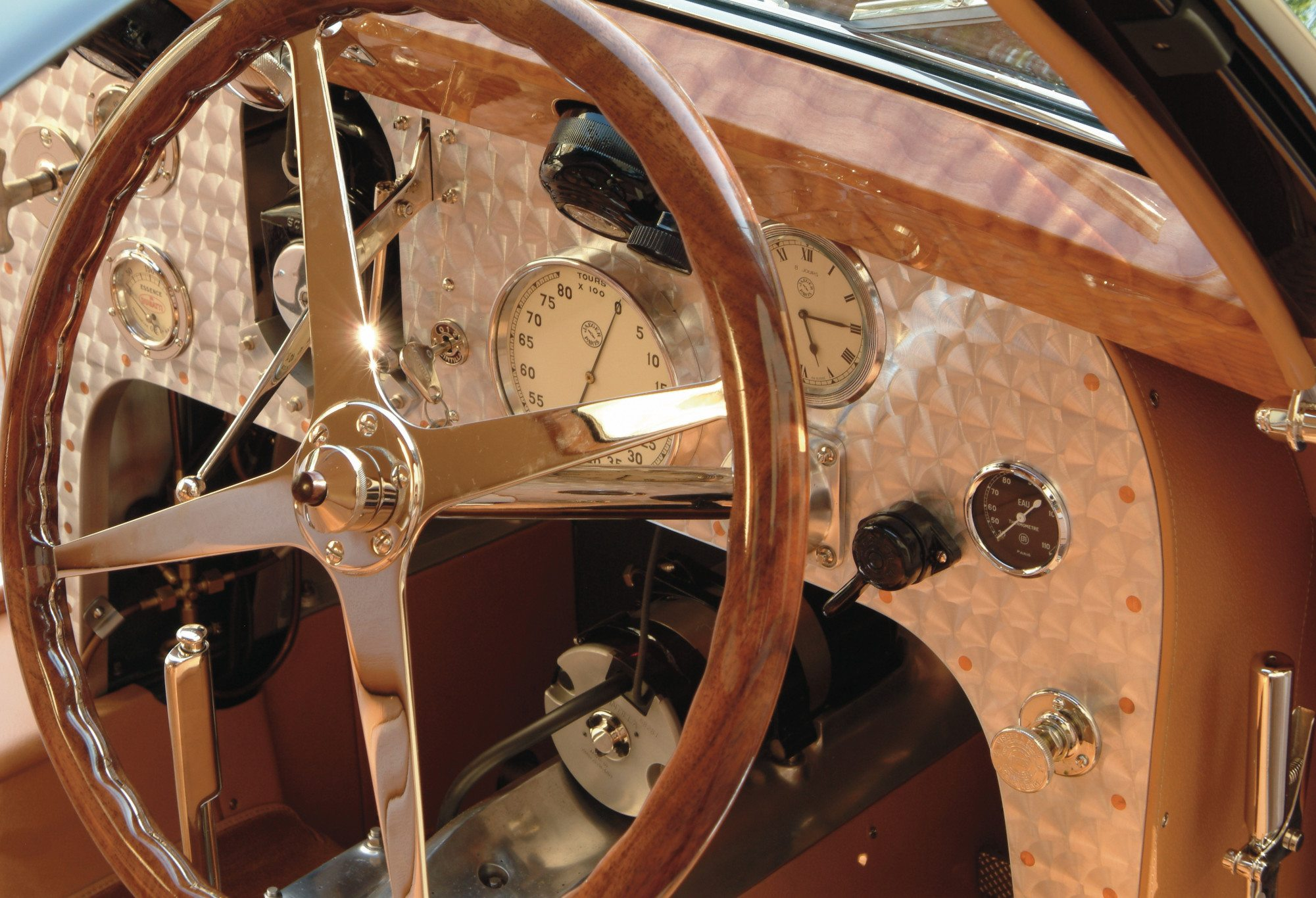 Bugatti Type 51 Dubos Engine Turned Dash Close Up