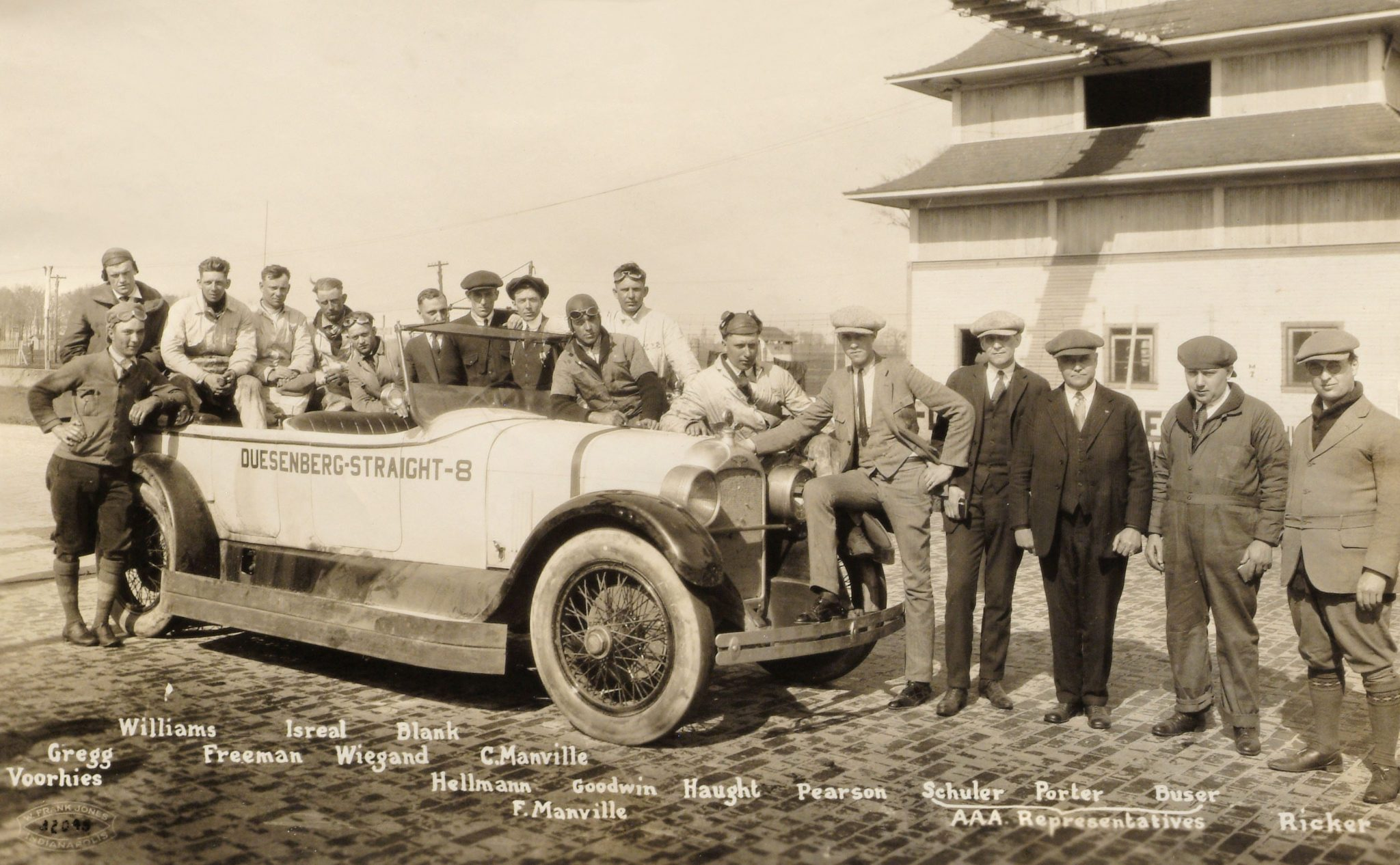 It took a 14-man team and three AAA observers to verify the Duesenberg Model A's 24-hours record run at Indianapolis in April 1923. The car clocked 3,155 miles in 24 hours for an average speed of 131.45 mph. In total the car accumulated over 18,000 miles during three weeks of endurance tests, and then paced the Indy 500 in May. It was the only instance in the history of the race when the pace car had more accumulated track time than the race cars!