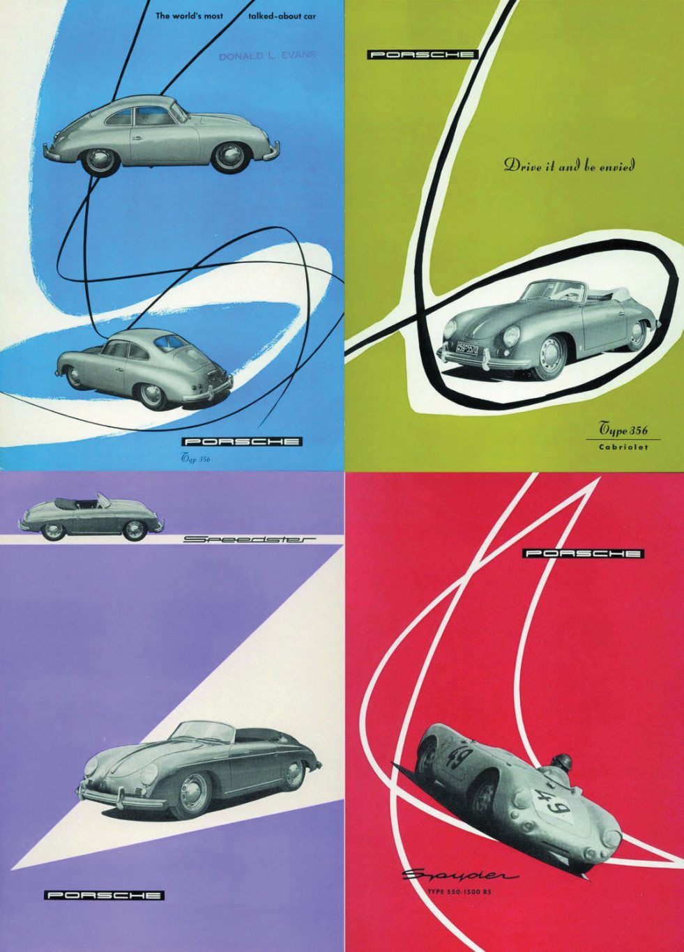 Covers from early Porsche brochures