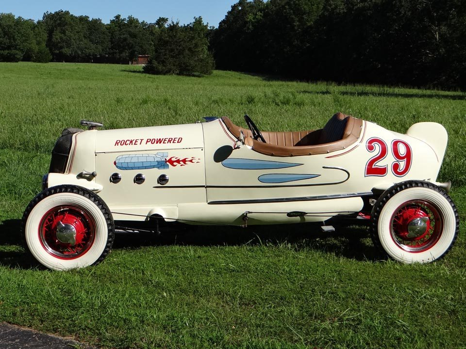 """1929 Ford Model A Speedster outside on grass """"rocket powered"""""""