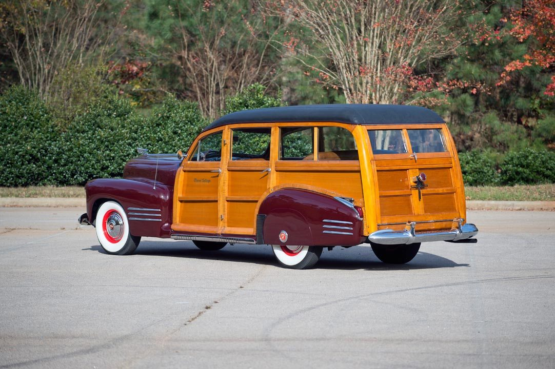 1941 Cadillac Series 61 Estate Wagon woody rear three quarter view