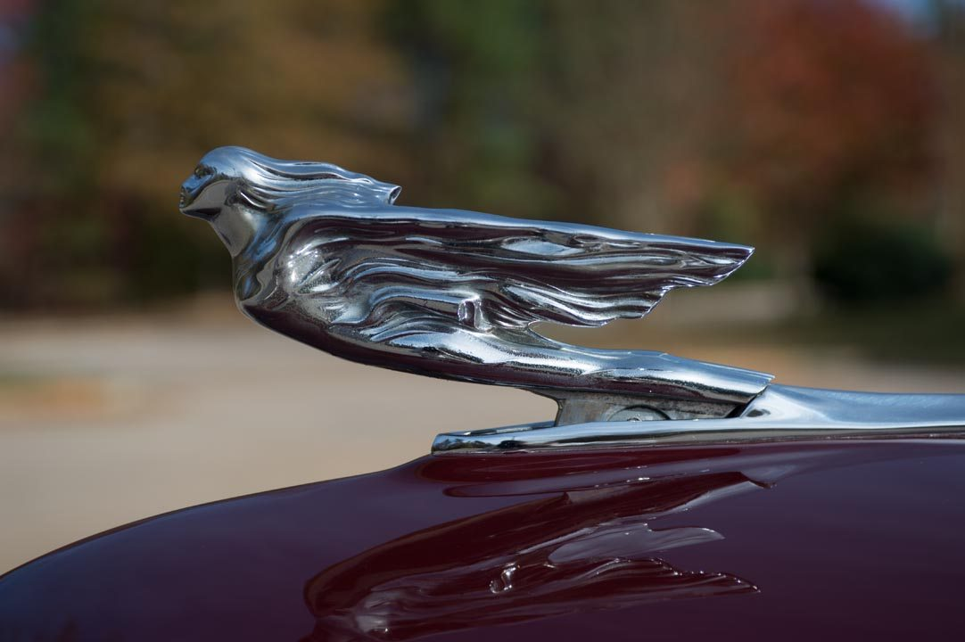 1941 Cadillac Series 61 Estate Wagon close up of hood ornament