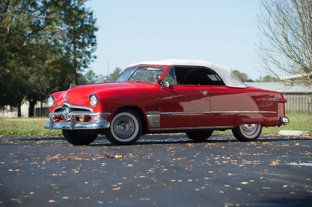 1950 Ford Custom Deluxe Convertible with white roof up