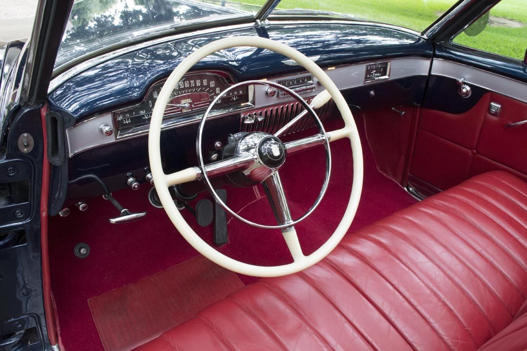 1949 Cadillac Series 62 Convertible Coupe Interior and Large Steering Wheel