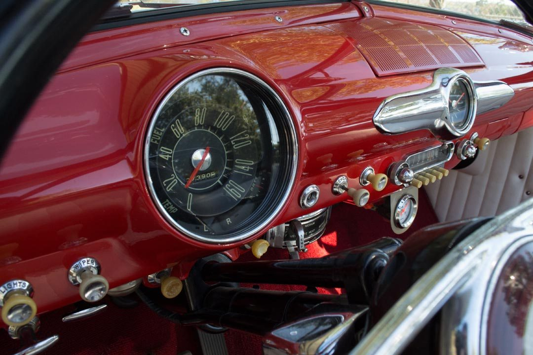 1950 Ford Custom Deluxe Convertible dash and gauge closeup