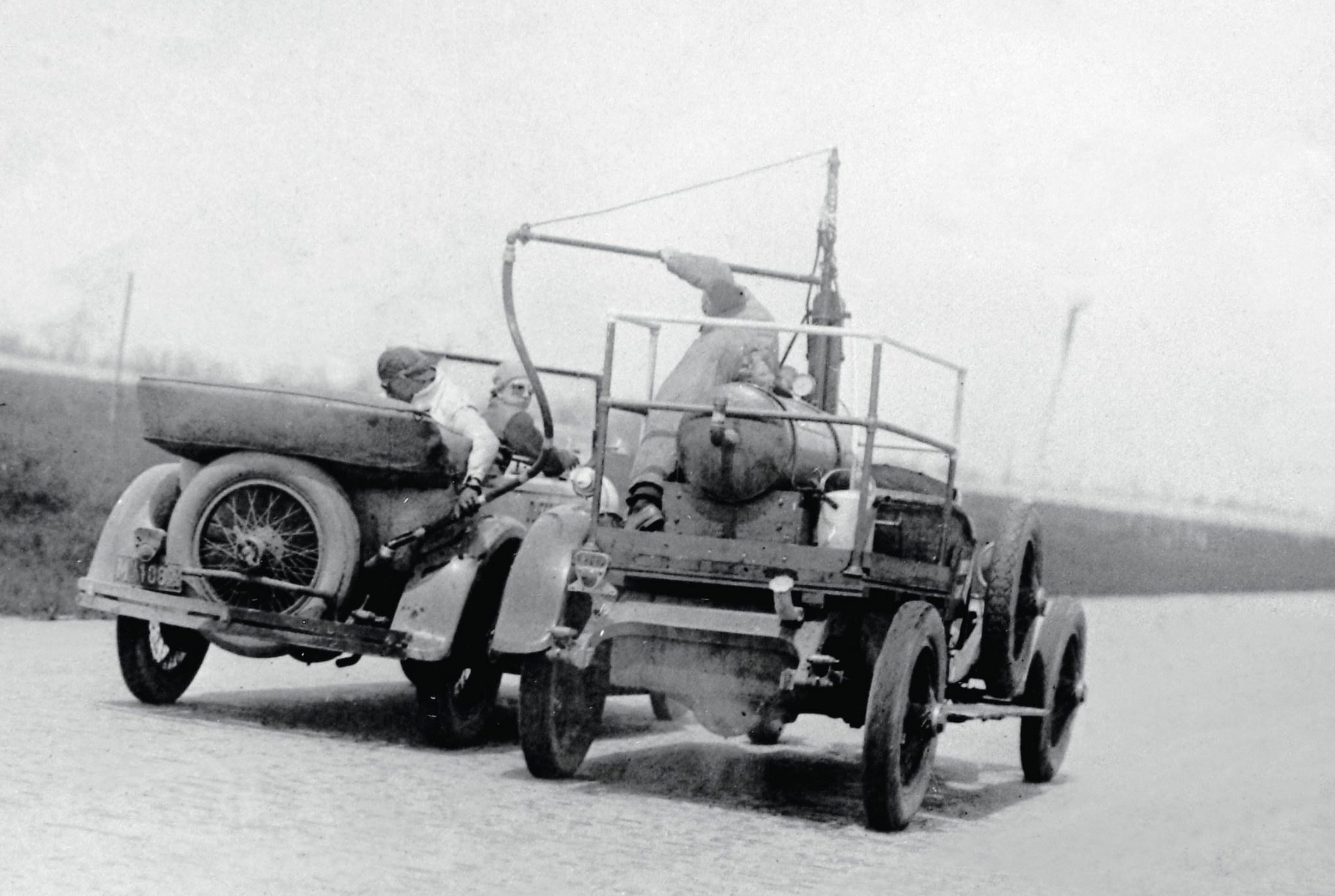 Except to stop for tires and driver changes, the April 1923 endurance tests at the Indianapolis Motor Speedway were non-stop. During this 24-hour record run, the engine was never shut off and the car was refueled in motion from another Model A chassis equipped with a large storage tank. And you thought the Air Force thought this up!
