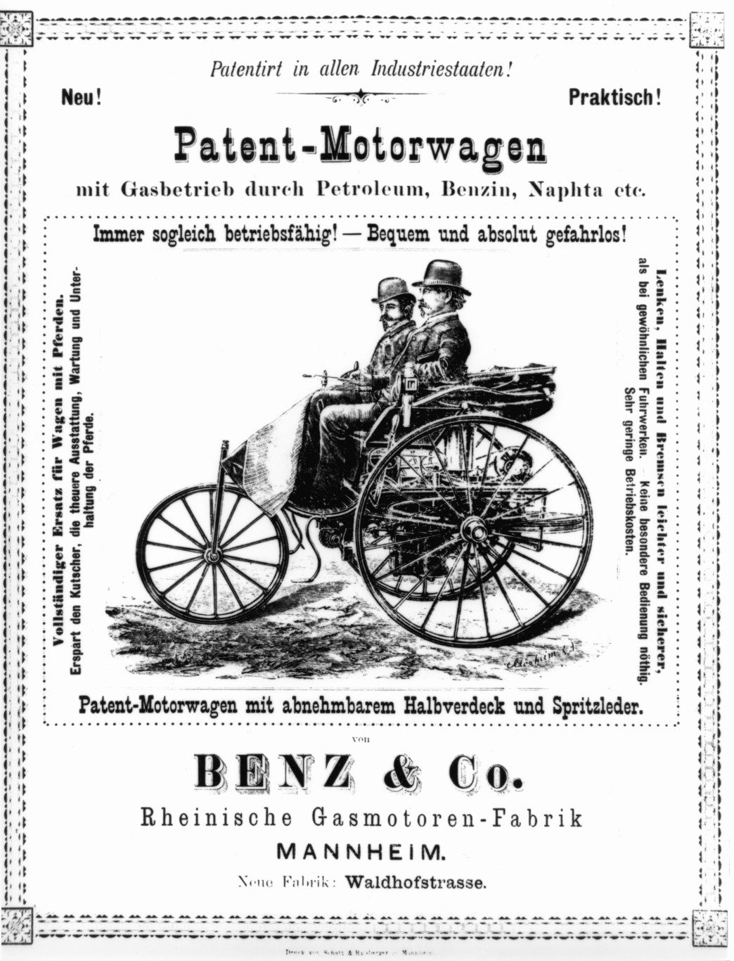 Early advertisement for the Benz & Co. Patent-Motorwagen.
