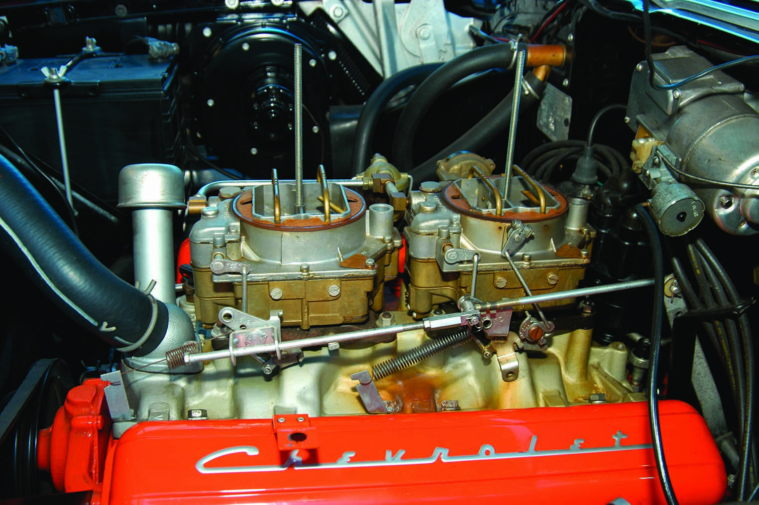 1957 Chevy engine close up