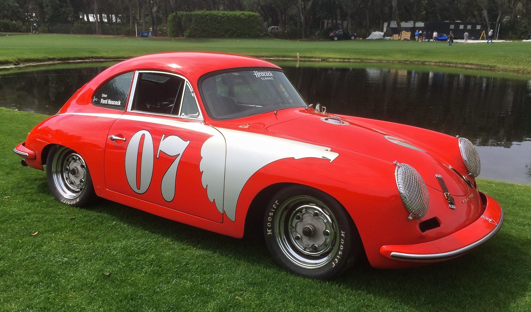 Classic Porsche race car at a show