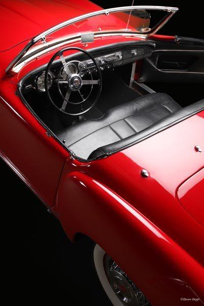 1952 Nash-Healey LeMans Roadster birds eye view of interior