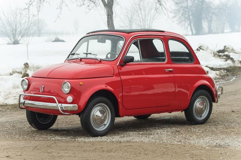 1972 Fiat 500L With Snowy Background