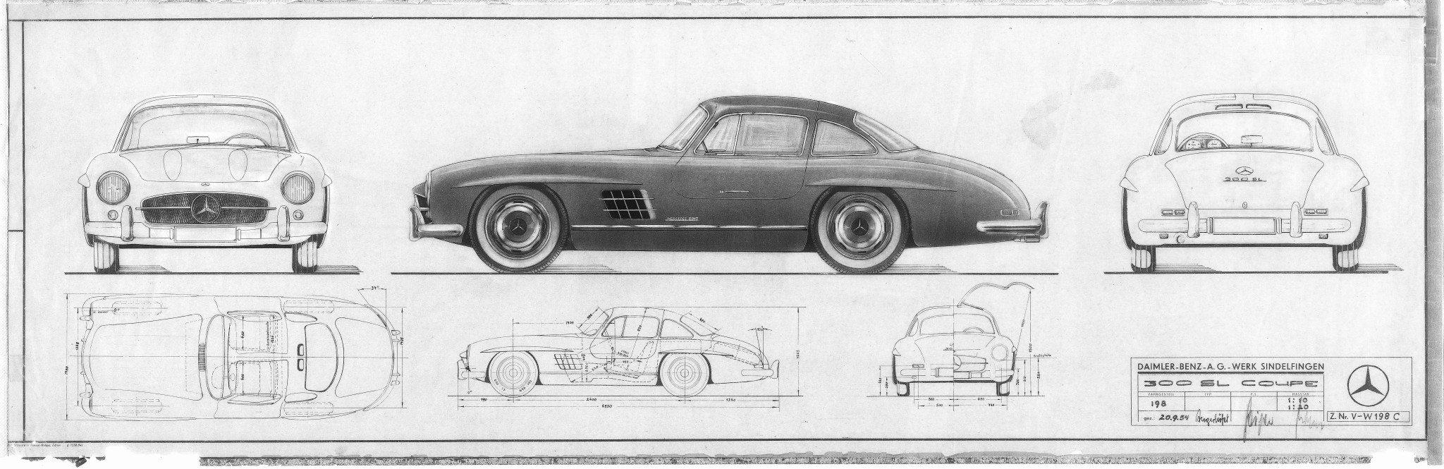 Mercedes-Benz 300SL Blueprints and Design Sketches