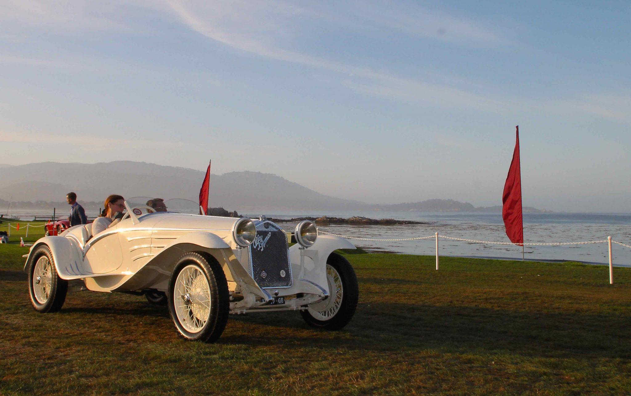 Classic Alfa Romeo show car on the water at Pebble Beach 2015