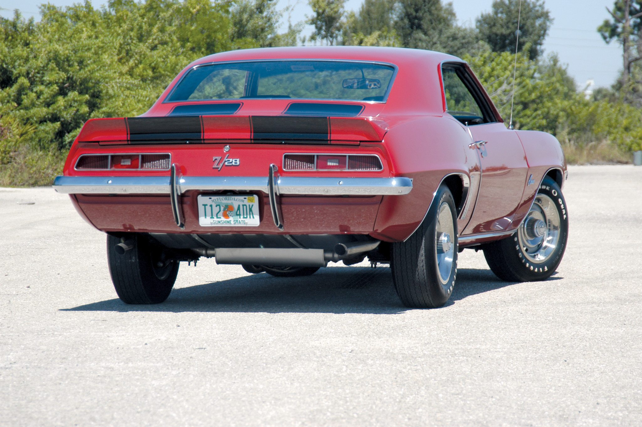 Red and Black 1969 Camaro Z28 Rear