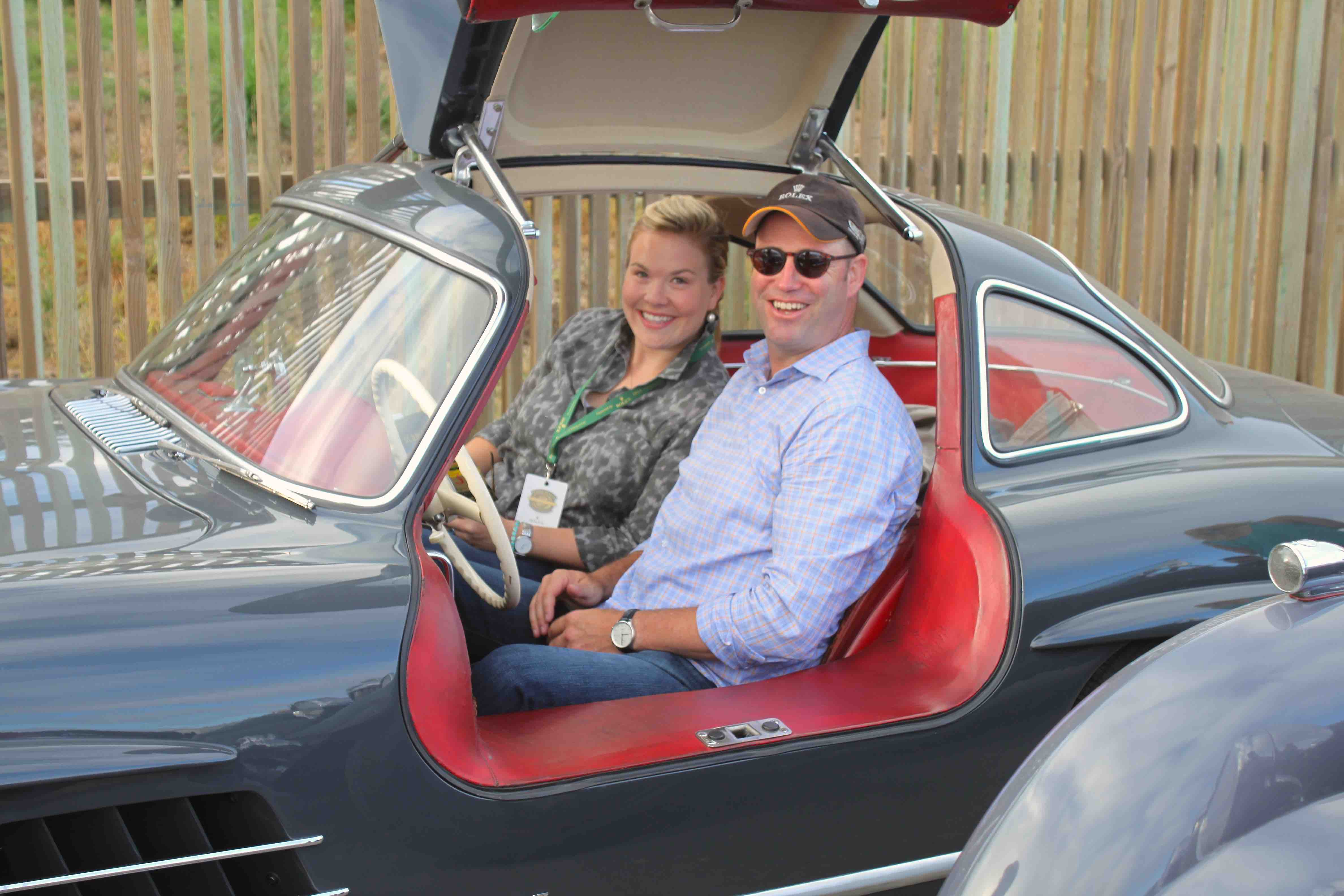 Rod and Veronique 2015 sitting in 300SL gullwing