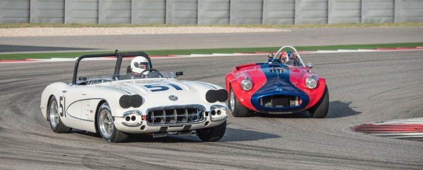 Classic race cars on track at a SVRA Car Show and Race
