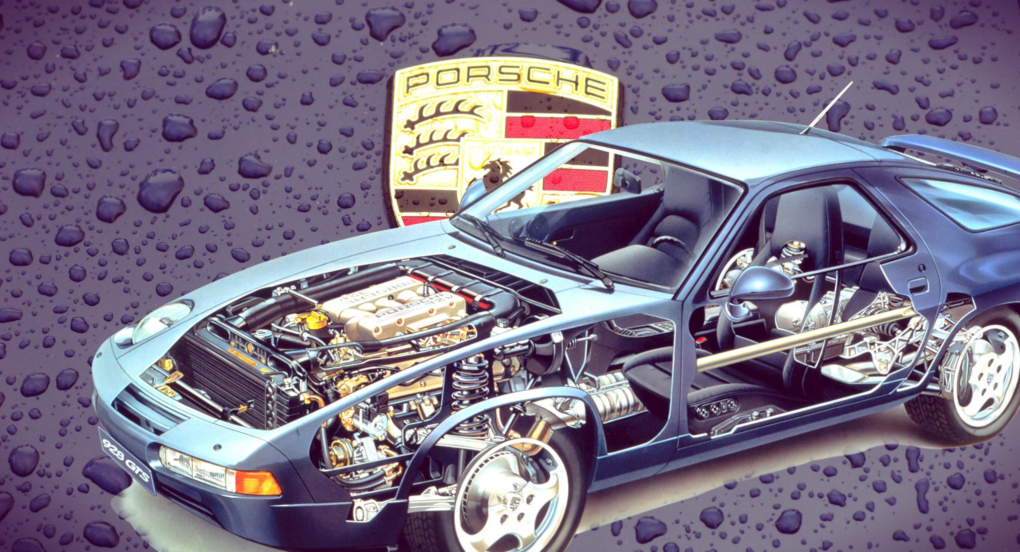 Technical Illustration of 1992 Porsche 928 GTS Coupe