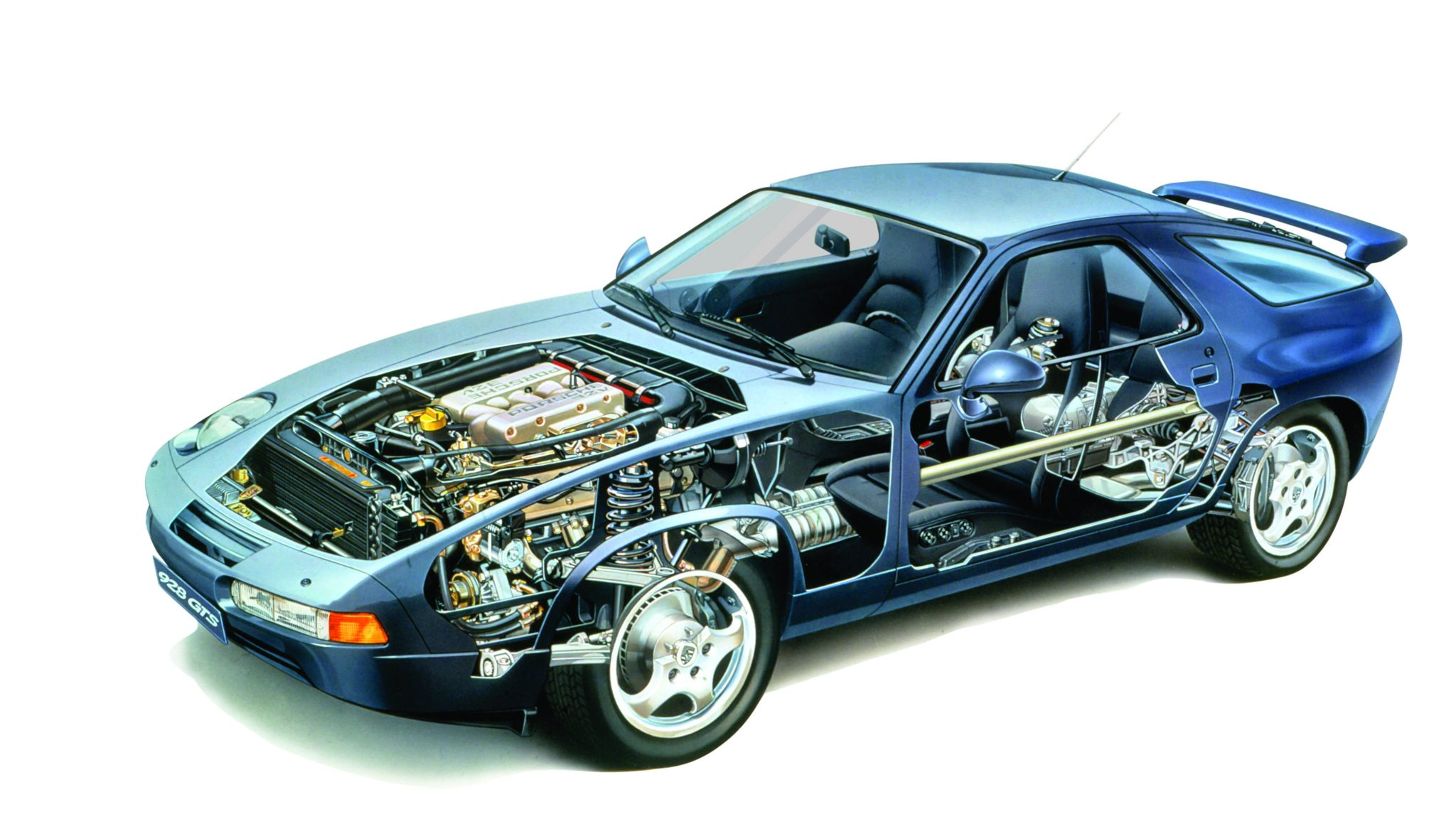Technical Illustration of the Porsche 1992 GTS Coupe