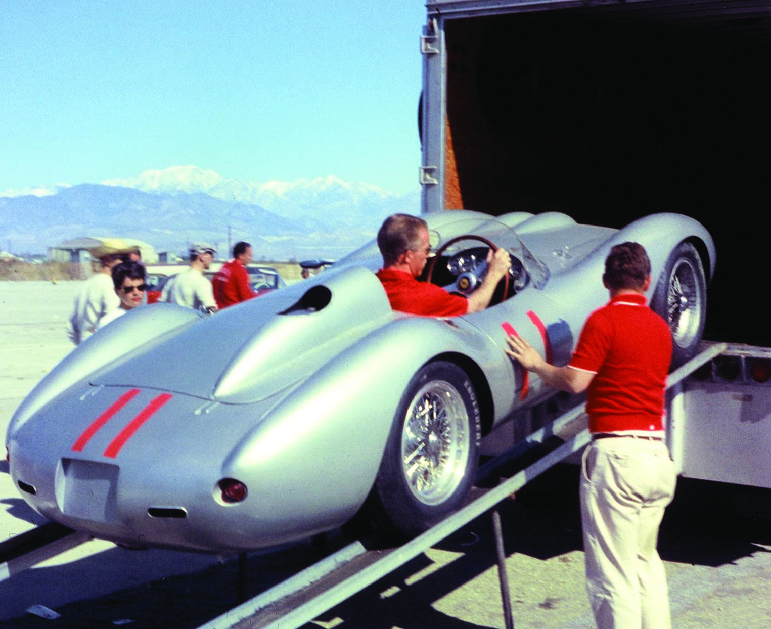 1957 Ferrari Testa Rossa unloading from race trailer