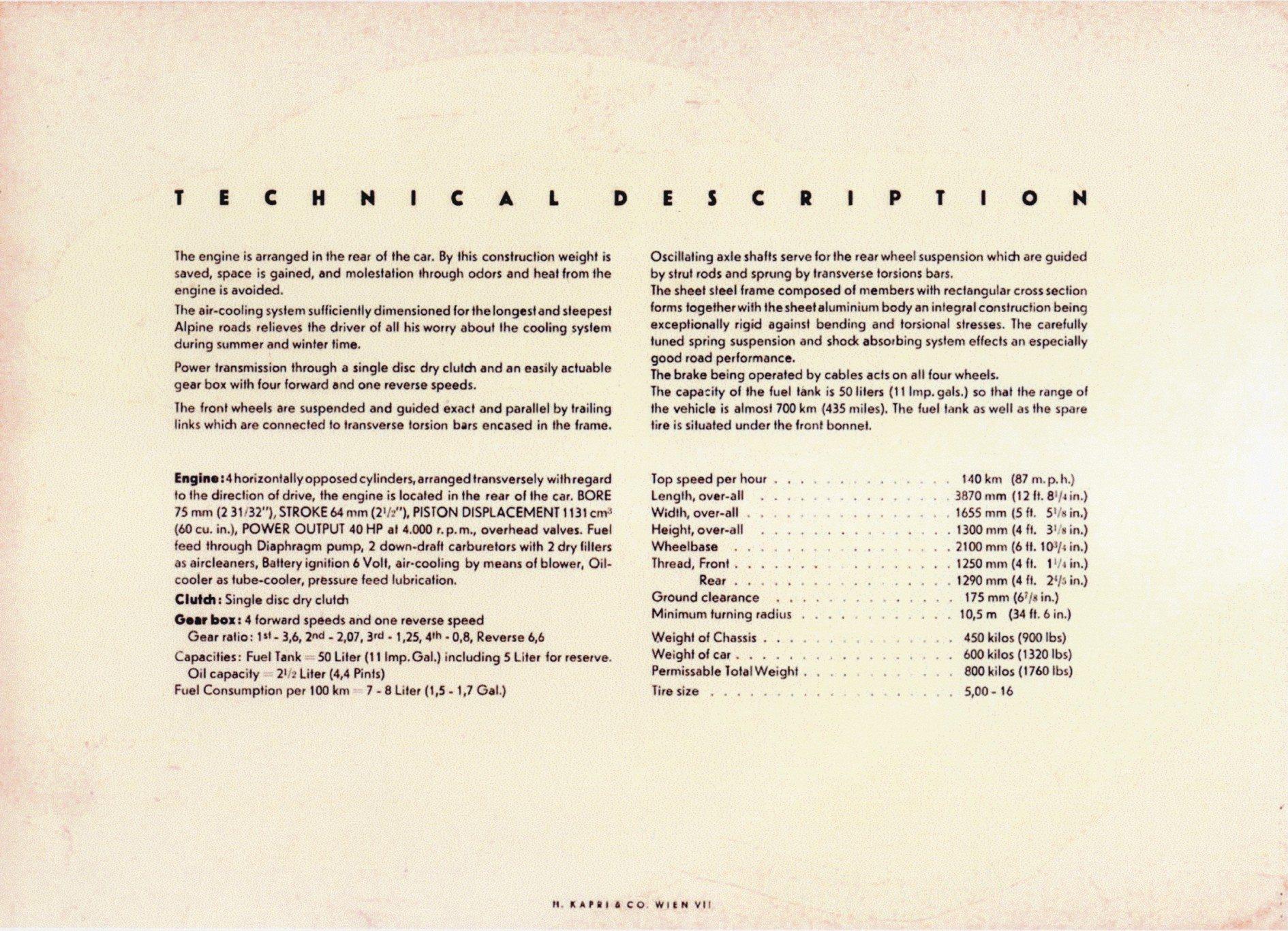 first Porsche sales brochure in 1948 4