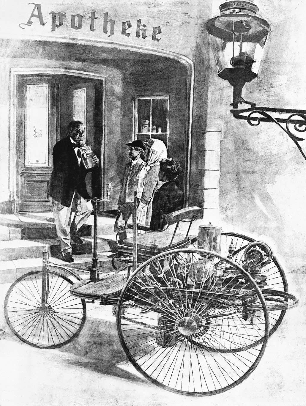 illustration of Bertha and the boys in 1886 Benz Patent Motorwagen