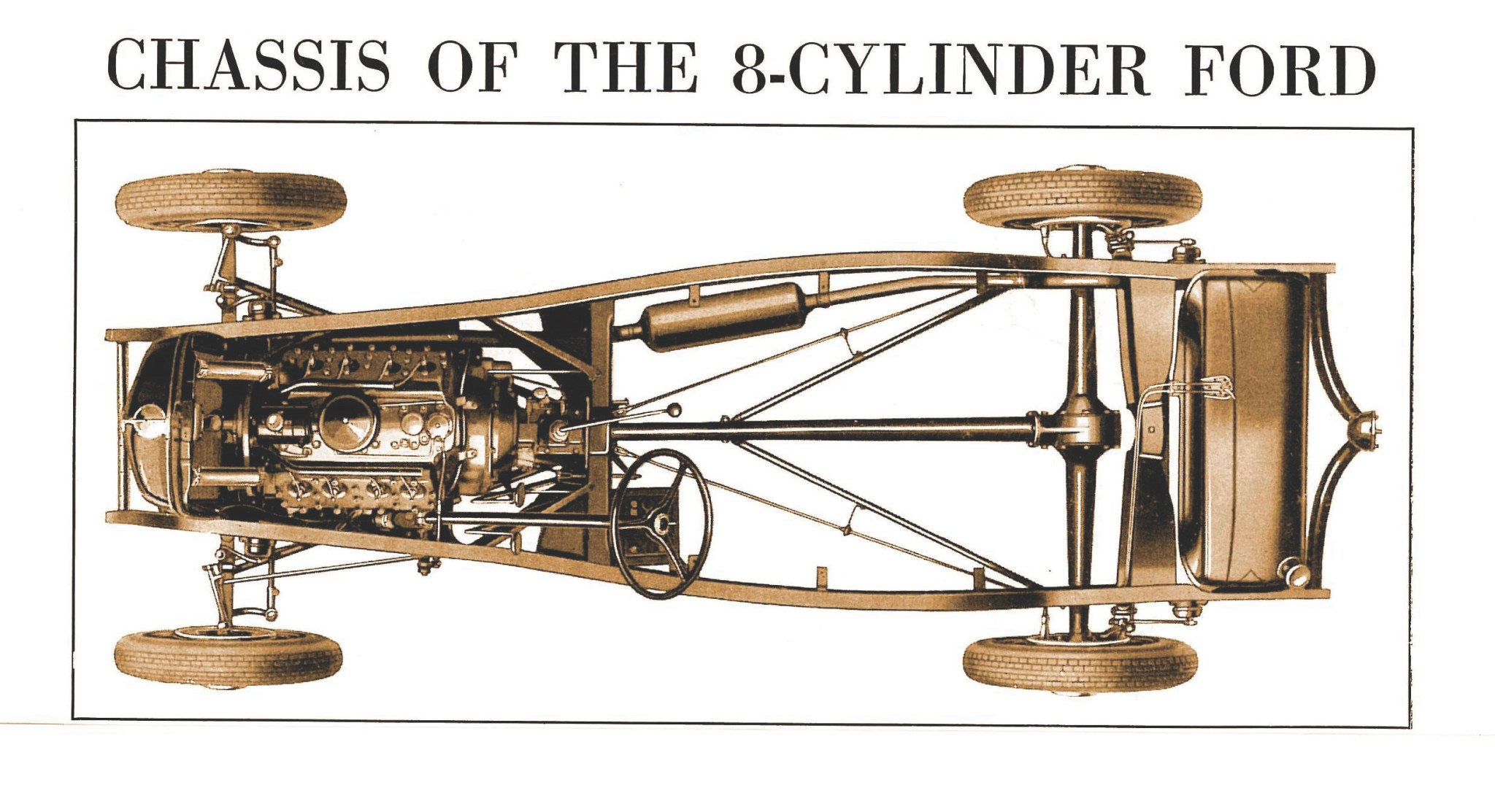promotional illustration 1932 Ford chassis