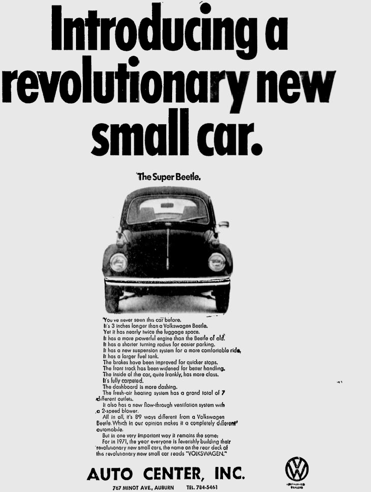 A VW ad listing the Super Beetles new features